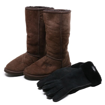 UGG Australia Brown Suede Boots and Black Gloves with Shearling Lining