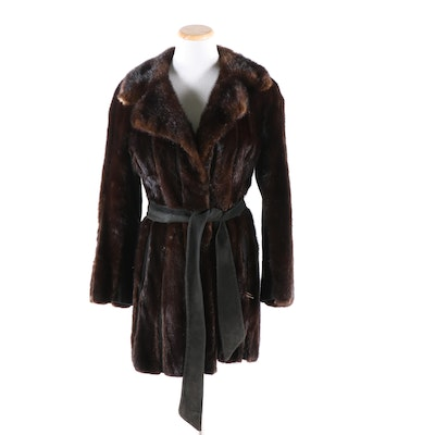 Mahogany Mink Fur and Leather Jacket with Suede Tie Belt, Vintage