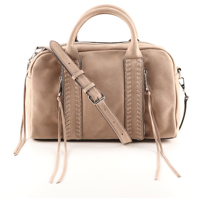 Rebecca Minkoff Sandstone Pebbled Suede Vanity Zip Satchel with Crossbody Strap