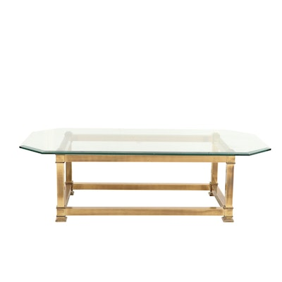 Contemporary Brass and Glass Top Coffee Table