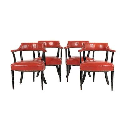 Vintage Orange Upholstered Armchairs, Set of Four
