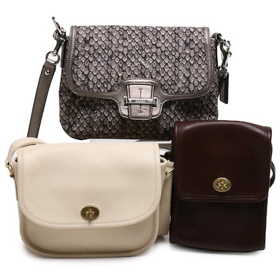 Coach Shoulder and Crossbody Bags in Leather and Snakeskin Print Canvas