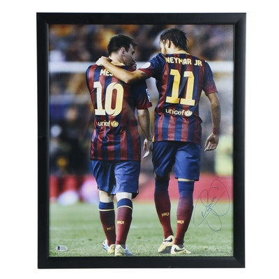 Neymar Jr. Autographed Poster with Lionel Messi Beckett COA