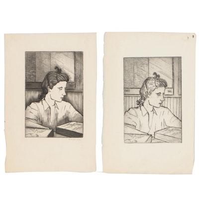 Margaret Sussman Portrait Etchings