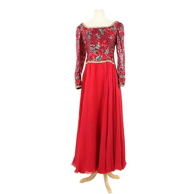 Richilene New York Beaded and Embroidered Silk Evening Gown, 1980s