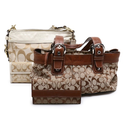 Coach Signature Canvas Zoe and Hampton Shoulder Bags with Matching Wallets