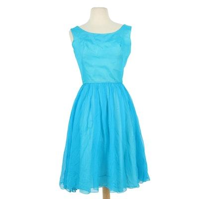 Jr. Theme Blue Sleeveless Dress with Pleated Chiffon Skirt Overlay, 1960s