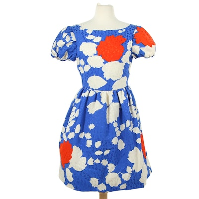 Silk Blend Floral Print Cocktail Dress with Pleated Full Skirt, 1980s Vintage