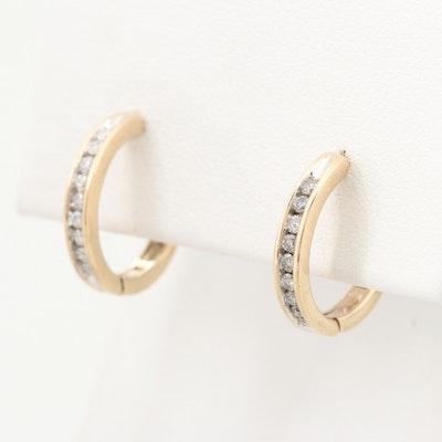 10K Yellow Gold Diamond Hoop Earrings