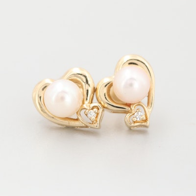 14K Yellow Gold Cultured Pearl and Diamond Heart Stud Earrings