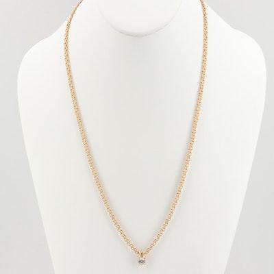 14K Gold Cubic Zirconia Bismark Chain Link Necklace