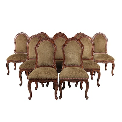 Ten Contemporary Rococo Style Upholstered Wooden Dining Chairs
