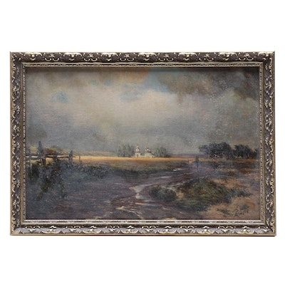 Landscape Oil Painting of Pastoral Scene with Church