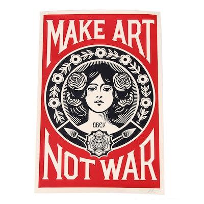 """Shepard Fairey 2019 Offset Print """"Make Art Not War"""""""