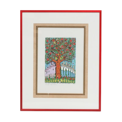 "James Rizzi 3D Color Lithograph ""The Apple Doesn't Fall Far from the Tree"""