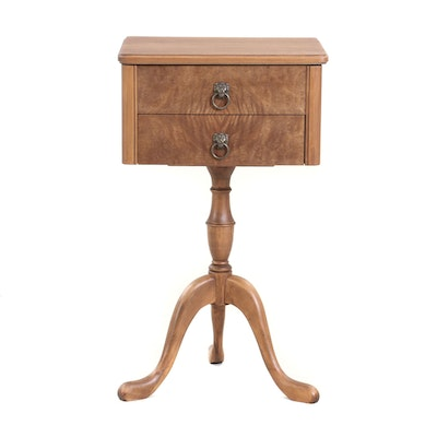 Federal Style Walnut Converted Side Table with Bar Accessories