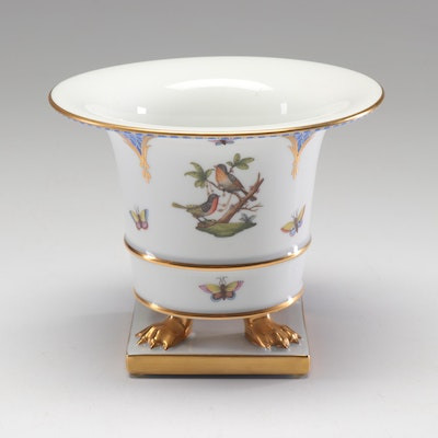 "Herend ""Rothschild Bird"" Porcelain Claw-Footed Urn Vase"