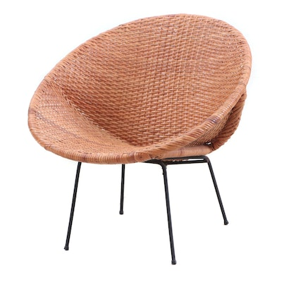 Round Wicker Chair, Late 20th Century