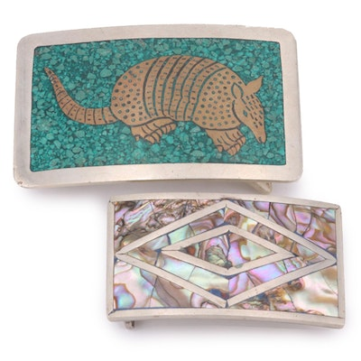 Mother of Pearl Inlay and Mexican Armadillo Motif Belt Buckles