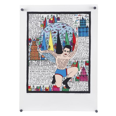 "Howard Finster Serigraph ""To the Olympics"""