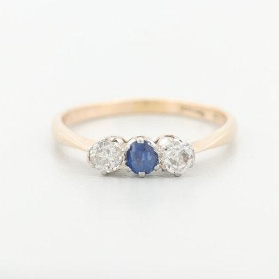 Platinum and 14K Yellow Gold Sapphire and Diamond Ring