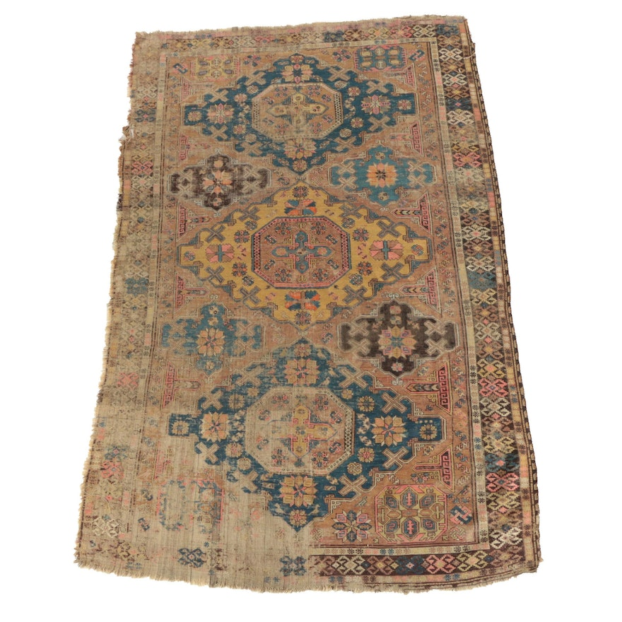 Hand-Knotted Caucasian Kazak Wool Area Rug