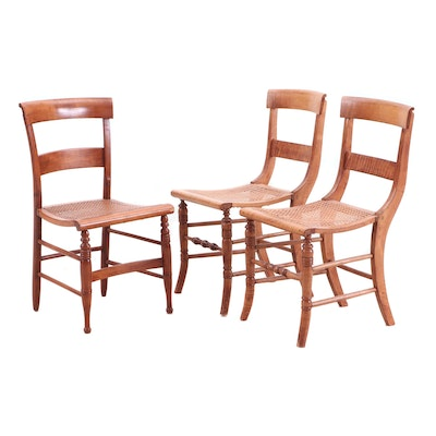 Empire Style Maple Woven Cane Ladder Back Chairs