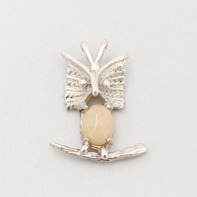 Sterling Silver Opal Owl Pendant