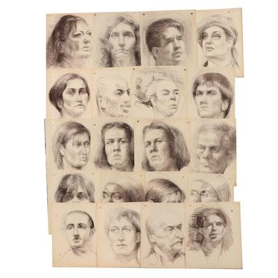 Shirley Resnick 1995-2000 Charcoal Portraits Studies