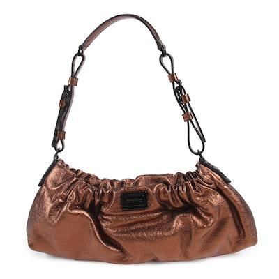 Burberry Bronze Metallic Grained Leather East West Shoulder Bag