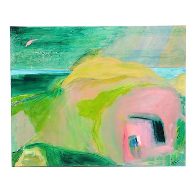 """Susan Crew Acrylic Painting """"Pink House by the Sea"""""""