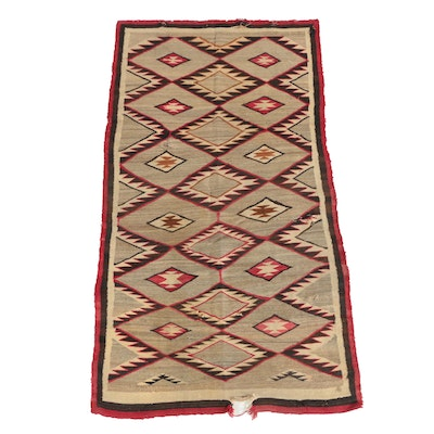 Handwoven Southwestern Style Wool Area Rug or Blanket, Early 20th Century