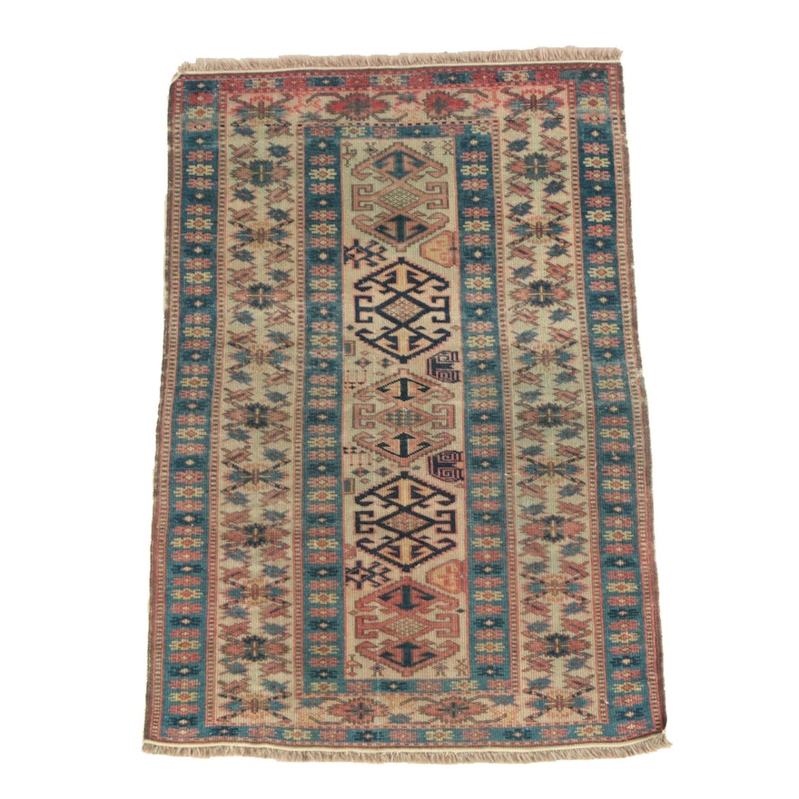 Hand-Knotted Caucasian Wool Accent Rug