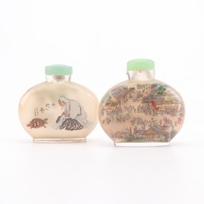 Japanese Reverse Painted Glass Snuff Bottles