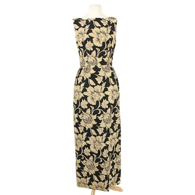 Marshall Field & Company Gold and Black Floral Sleeveless Evening Dress, 1960s