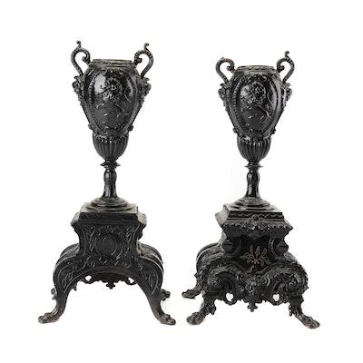 Cast Iron Rococo Style Vases