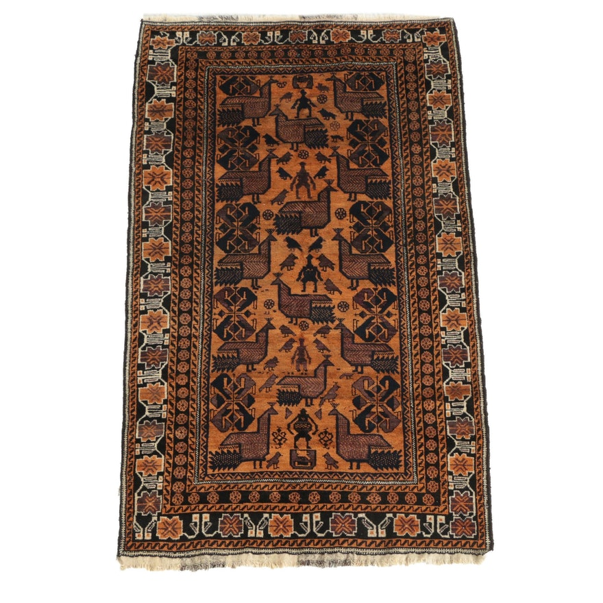 Hand-Knotted Khamseh Shiraz Pictorial Chicken Wool Area Rug