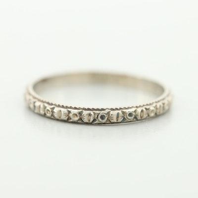 18K White Gold Patterned Eternity Ring