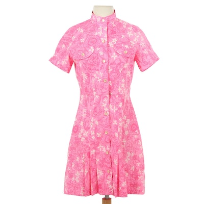 The Lilly by Lilly Pulitzer Pink Floral Shirt Dress, 1970s Vintage
