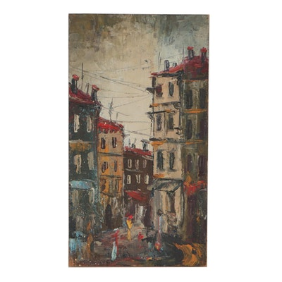 Late 20th Century Abstract Oil Painting of Street Scene