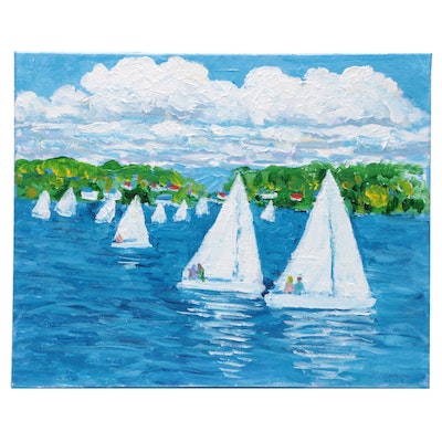 "Will Becker Acrylic Painting ""The Regatta on a Summer Day"""