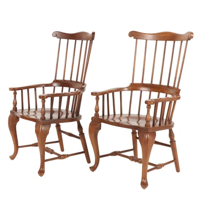 Pair of Windsor Wooden Armchairs, 20th Century