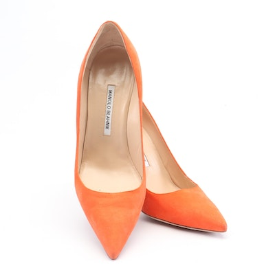 Manolo Blahnik Orange Suede Pointed Toe High-Heeled Pumps
