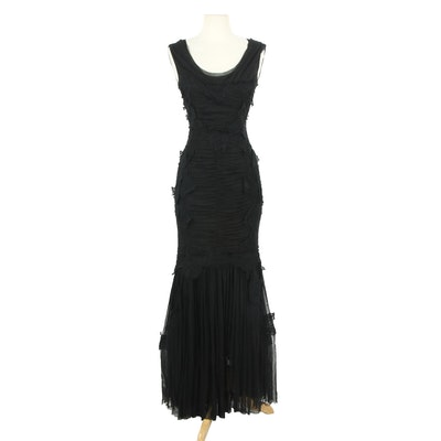 Dolce & Gabbana Silk Blend Mesh and Lace Sleeveless Evening Dress