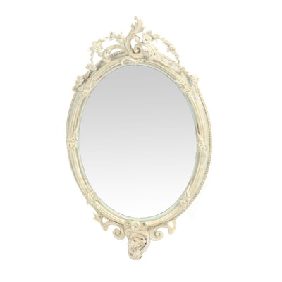 Floral and Acanthus Leaf Oval Wall Mount Mirror