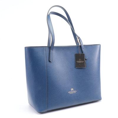 Cuoieria Fiorentina Italian Textured Blue Leather Tote