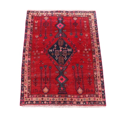 Hand-Knotted Inscribed Persian Kurdish Pictorial Wool Rug