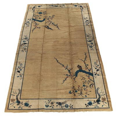 Hand-Knotted Chinese Nichols Style Wool Room Sized Rug, Early 20th Century