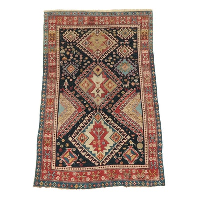Hand-Knotted Caucasian Kuba Pictorial Wool Rug