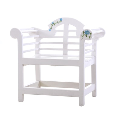 Painted Wood Arm Bench, Contemporary